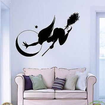 Wall Stickers Vinyl Decal Hot Sexy Halloween Witch Broom Mystery Unique Gift z1076