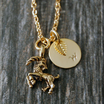 Gold Capricorn Zodiac Charm Necklace, Initial Charm Necklace, Personalized, Zodiac Horoscope Sign, Capricorn Pendant, Zodiac Jewelry