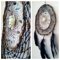 Double Willow Wire and Leather Dreamcatcher with River Stones and Howlite