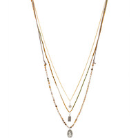 CHAN LUU Layered Necklace in Metallic Gold