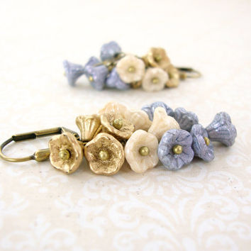 Neo Victorian Flower Cluster Earrings - Light Blue Gold Ivory Flower Earrings - Vintage Style Flower Jewelry - Shabby Chic Wedding Jewelry