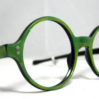 Vintage Eyeglasses. 60s Round Lime Colored Frames with 3D Designs