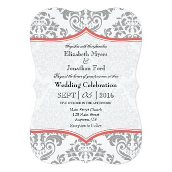 Coral Gray Damask Bracket Wedding Invite