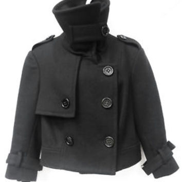 BEBE Womens Wool Funnel Neck Military Inspector Cropped Peacoat Jacket Coat M