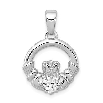 Sterling Silver CZ Heart Center Claddagh Pendant