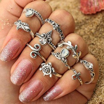 ac DCCKB5Q Cross Rack Ring Sea Crown Leaf Vintage Set [10802558659]