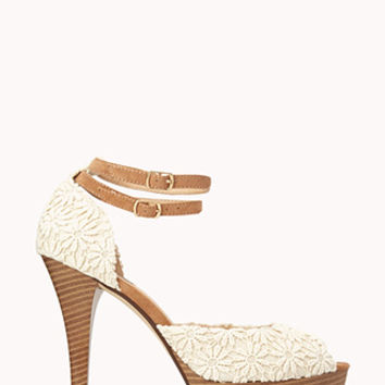 FOREVER 21 Darling Daisy Crocheted Platforms Cream/Taupe
