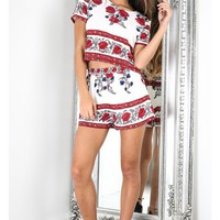 Porcelain Dreamer two piece set in red floral