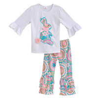 Paisley Embroidered Bunny Easter Outfit