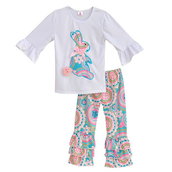 Girls Spring Clothes Set White Top With Bunny Tee Shirts Colorful Vintage Ruffle Pant Kids Clothing Boutique Cotton Outfits E001