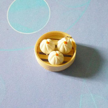 Mini white bao Dim sum Food cabochons Chinese bun Clay food -bun bamboo basket-steamed bun- Miniature food Dollhouse miniatures