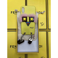 FENDI 2018 soft shell 7p tide brand iPhoneX robot leather protective cover F-OF-SJK Yellow