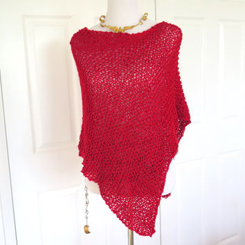 Red Knit Asymmetrical Poncho, Hand Knit Sparkly Red Poncho