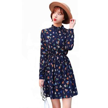 Spring Floral Print Dresses For Ladies Japanese Korean Fashion Vintage Chiffon Women Plus Size Casual Slim Sweet Mini Dress