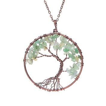Tree Of Life Pendant Necklace Copper Crystal Natural Stone Necklace Women