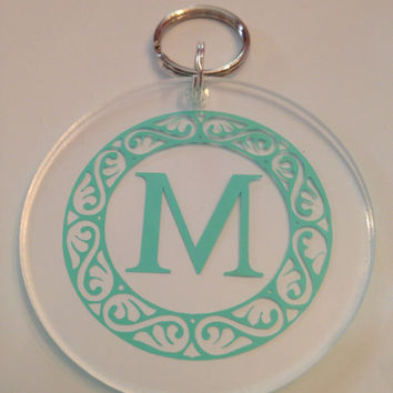Monogrammed Single Initial Keychain with Scroll Border- Southern, Sorority, Royal