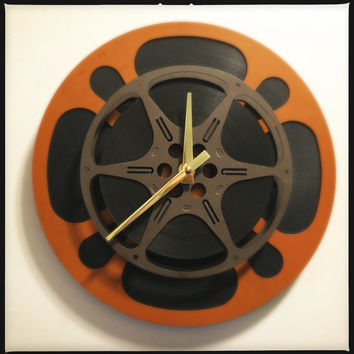 Film Reel Wall Clock, Orange and Brown Wall Clock, Media Room Clock, Kitchen Clock, Nursery Clock, Unique Clock