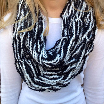 Black and White Arm Knit Infinity Scarf, arm knit scarf, infinity scarf, arm knit cowl