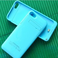 Slim External Rechargeable Backup Battery Charger Charging Case Cover for iPhone 5c with Pop-Out Kickstand 2200mAh (blue)