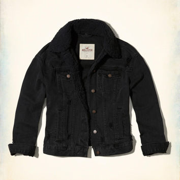 Girls Sherpa-Lined Oversized Denim Jacket | Girls Jackets & Coats | HollisterCo.com