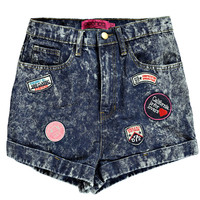 Mariyah Acid Wash Badge Boyfriend Denim Shorts