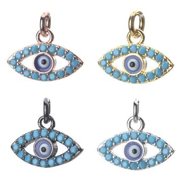 1pc 15*12mm Fashion Blue Evil Eye Charms Necklace Pendant Green Crystal Jewelry Accessories For Women Diy Evil Eye Necklace