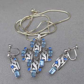 Signed VAN DELL Sterling Blue Rhinestone 1950's Vintage MODERNIST Necklace & Earrings Set