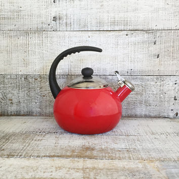 Enamel Tea Kettle Retro Red Metal Teapot with Resin Handle Vintage Whistling Tea Kettle Red Teapot Mid Century Retro Kitchen