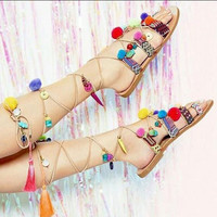 Retro Fashion Casual Cute Candy Colors Manual Flat Toe Strappy Small Decoration Sandals Shoes