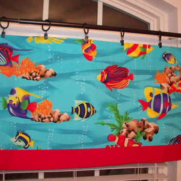 Custom Boutique Aqua Red Yellow Fish Valance- Lined Curtain - Bathroom, Bedroom, Nursery, boys/girls Room - Window Treatments