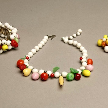 Set of 3 Fruit Salad Jewelry Bracelet Earrings and Necklace Parure Vintage Jewels