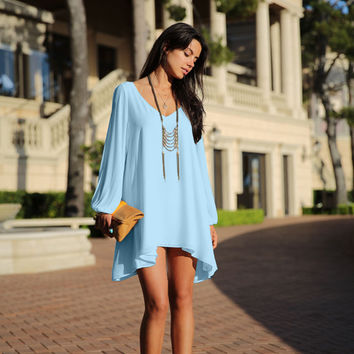 Sky Blue Longsleeve Split Chiffon Mini Dress