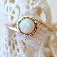 White Opal ring, Silver opal ring, Gemstone ring, Gold ring, Opal ring, white stone ring, October birthstone ring, dainty ring,stacking ring