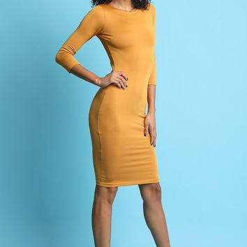 Quarter-Length Sleeves Sculpture Midi Dress