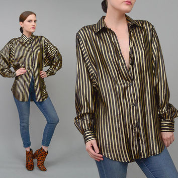 Vintage 80s Black + Gold Striped Blouse Long Sleeve Metallic Lame Button Up Shirt Medium Large M L