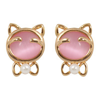 CHIC Pink Happy Hippo Stud Clip On Earrings
