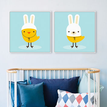 Nordic Kawaii Animal Chicken Dog Square Blue Canvas Art Print Poster Nursery Wall Picture Kids Baby Room Decor Painting No Frame