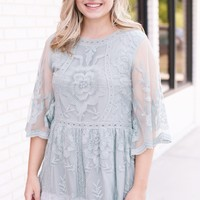 Millie Lace & Embroidery Blouse, Sage