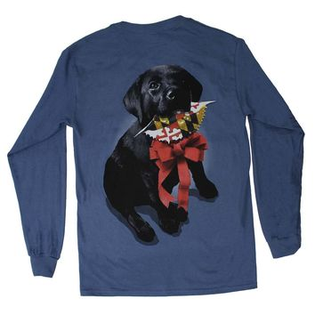 Christmas Black Lab (Indigo)  / Long Sleeve Shirt