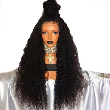 Long Curly Wigs with Baby Hair Black Color Full Density Synthetic Lace Front Wig