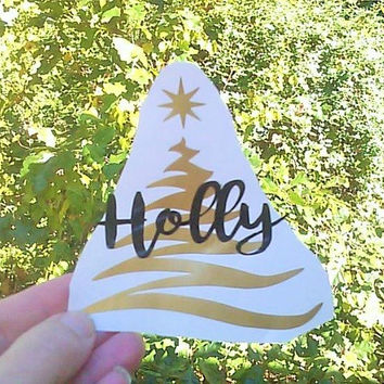 Tree Decals, Holiday Decor, Party Cup Decals, Tree Monogram, Name Decal, Party Prep