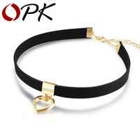 OPK Gothic Choker Necklace For Women Hollow Heart Pendant With Smooth Flannel lace Retro Christmas Present For Girl RX008