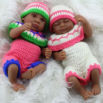 Twins African American Baby Girl Doll Full Vinyl Silicone Baby Dolls Xmas Gifts