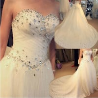 2015 hot new Pregnant high-grade dress Rhinestone trailing V neckline beautiful wedding = 1932632964