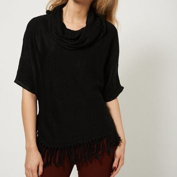 Fringed Hem Cowl Neck Sweater