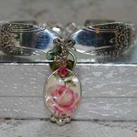 """Summer Rose""  Silver Spoon Bracelet with Broken China Jewelry Heart Charm and Crystals in Gift Box"
