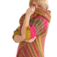 Hand Knitted Jacket with Short Sleeves, Multicolor Circular Wrap