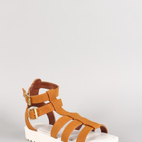 Qupid Strappy Gladiator Open Toe Flatform Sandal