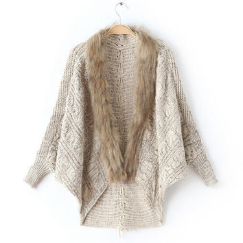 Fur Collar Cardigan Sweater with Bat Sleeve