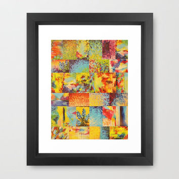 COLORFUL INDECISION 2 - Vibrant Wow Beautiful Abstract Acrylic Painting Collection Nature Rainbow Framed Art Print by EbiEmporium | Society6